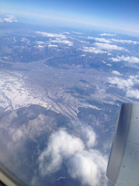 飛行機から見たユーラシア大陸