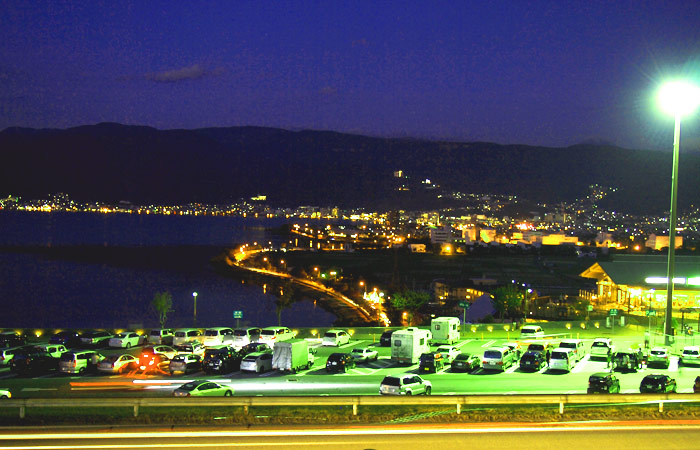 諏訪湖ICの夜景